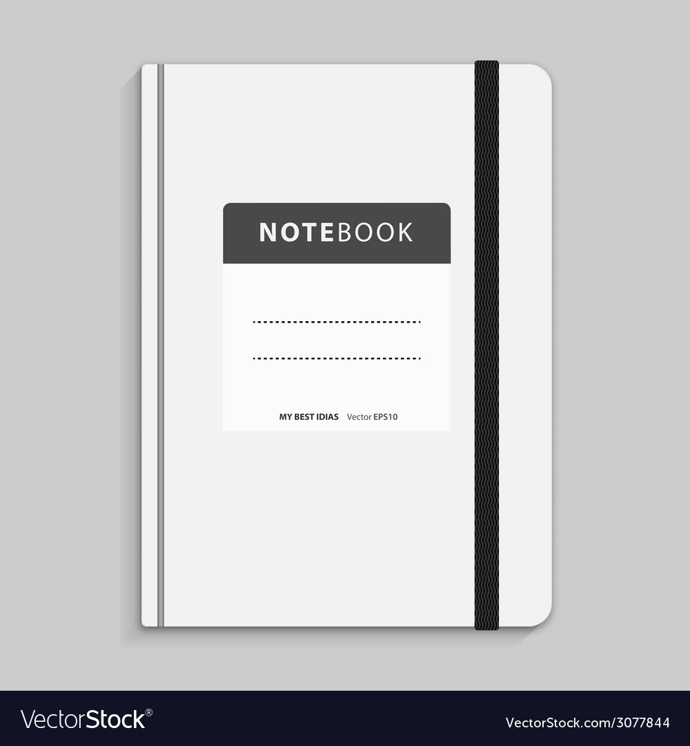 Realistic white copybook with elastic band bookmar vector | Price: 1 Credit (USD $1)