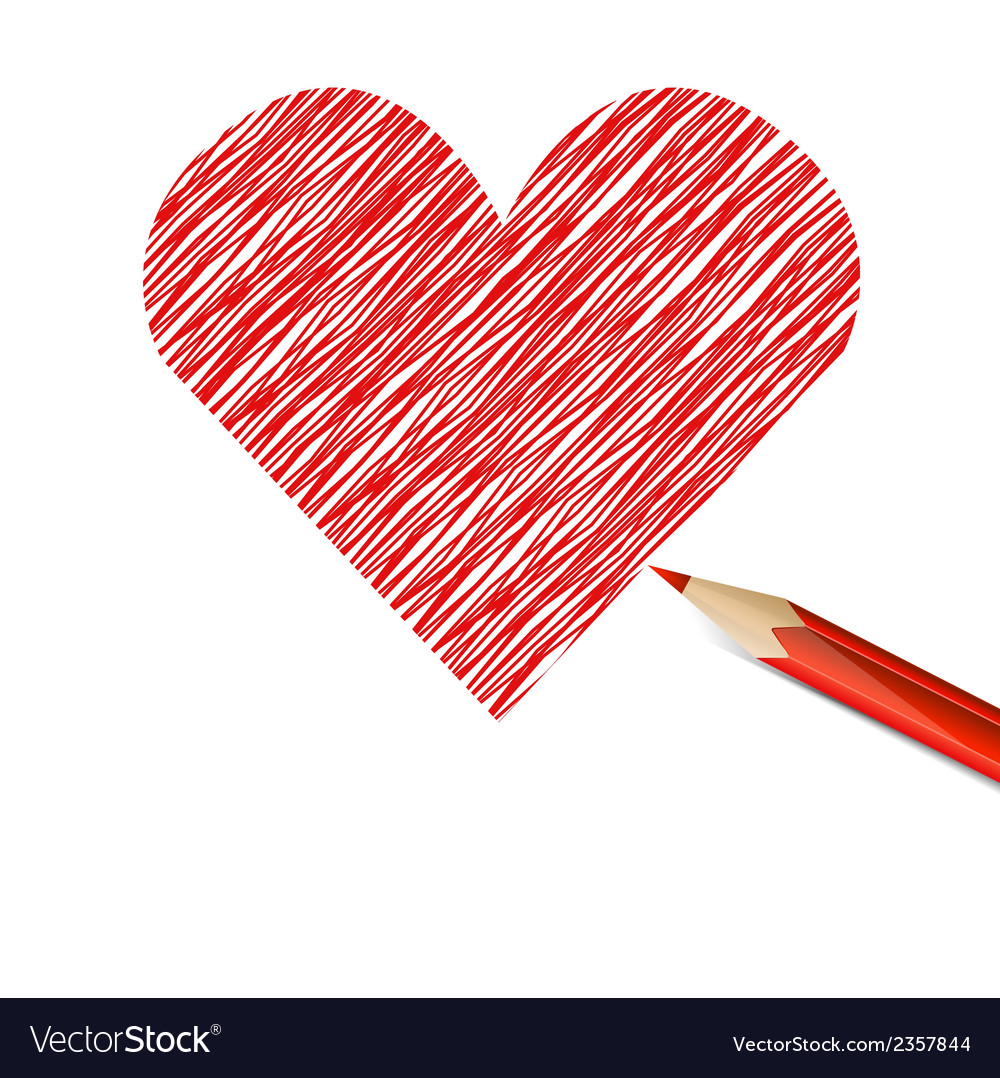 Red heart drawn with pencil vector | Price: 1 Credit (USD $1)