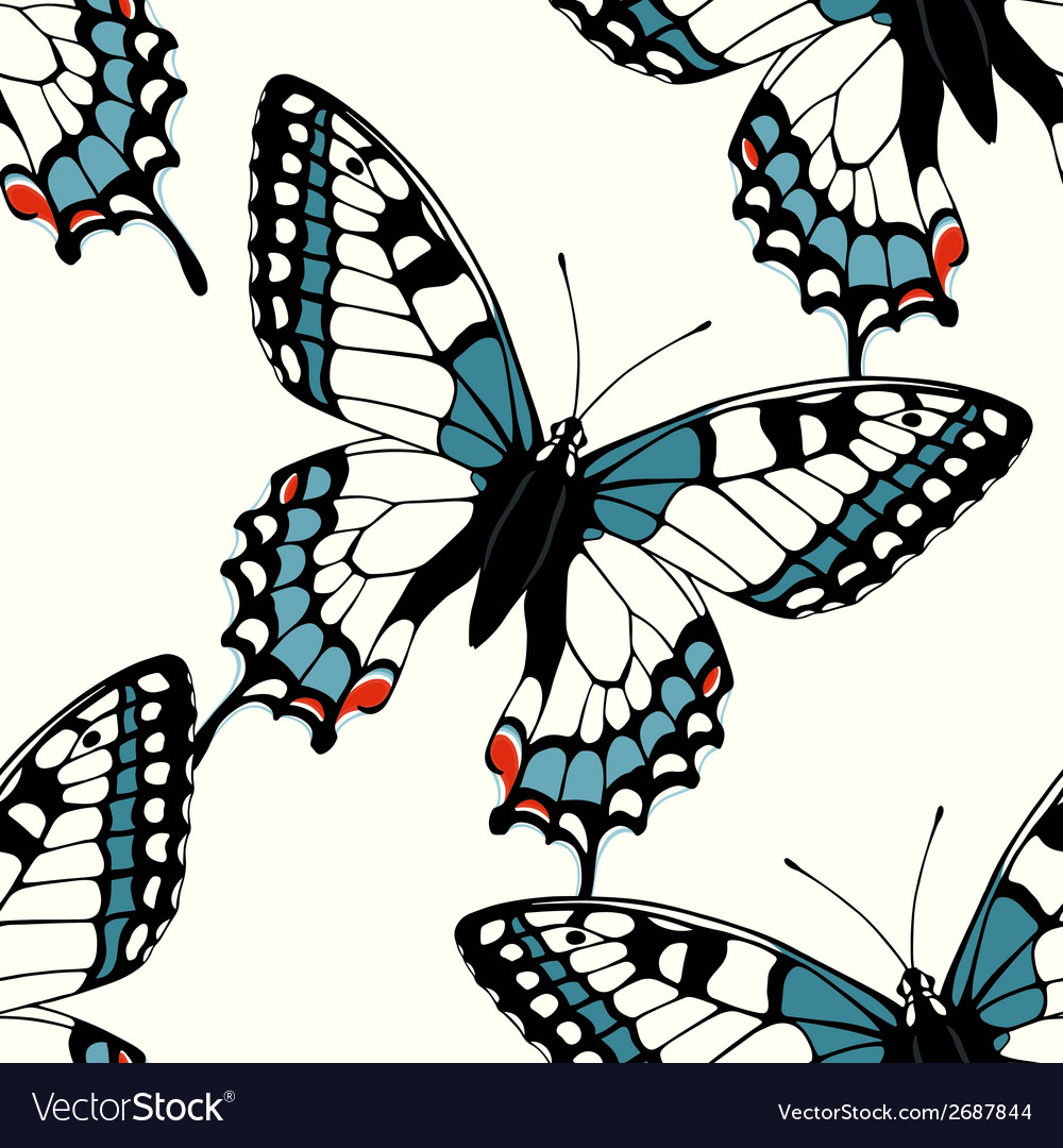 Seamless pattern with decorative machaon vector | Price: 1 Credit (USD $1)