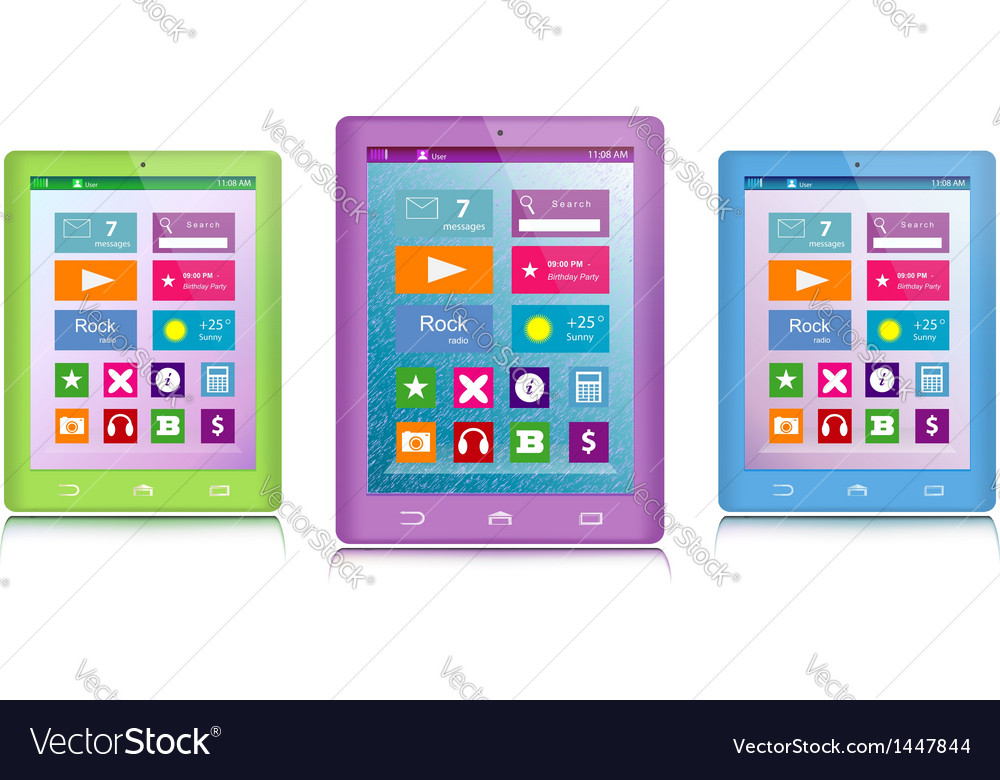 Set of color tablet computers vector | Price: 1 Credit (USD $1)