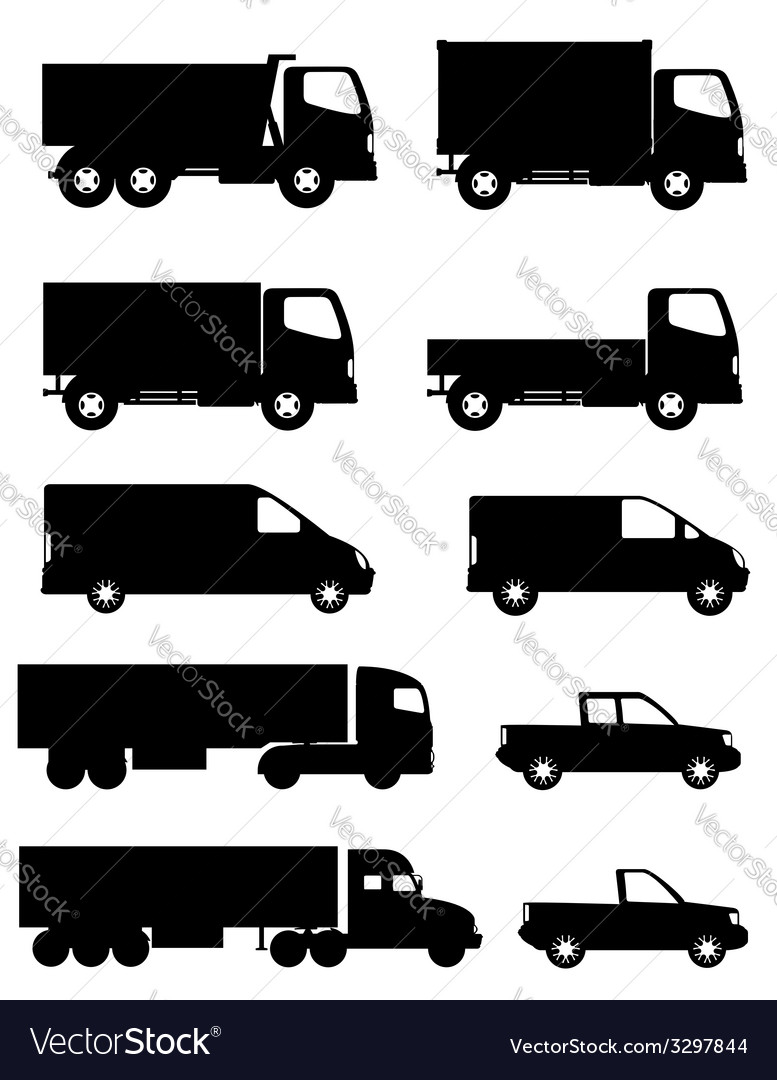 Set of icons cars and truck for transportation of vector | Price: 1 Credit (USD $1)