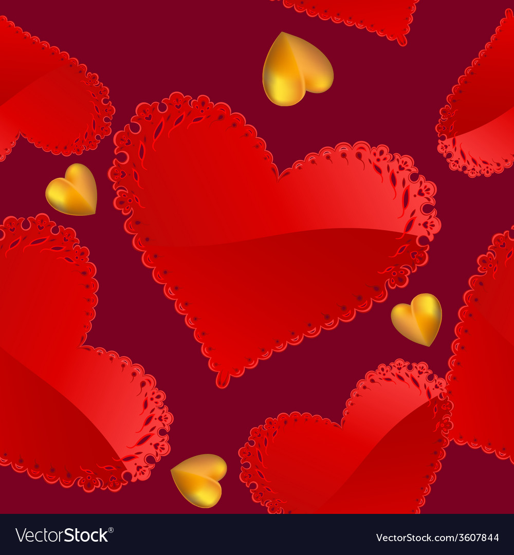 Valentines day pattern with red and gold hearts vector | Price: 1 Credit (USD $1)