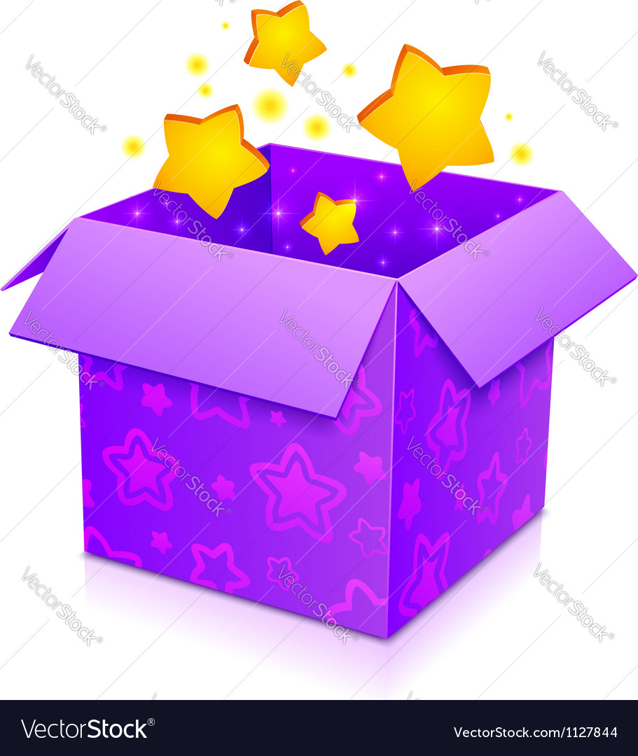 Violet magic box with yellow stars inside vector | Price: 1 Credit (USD $1)