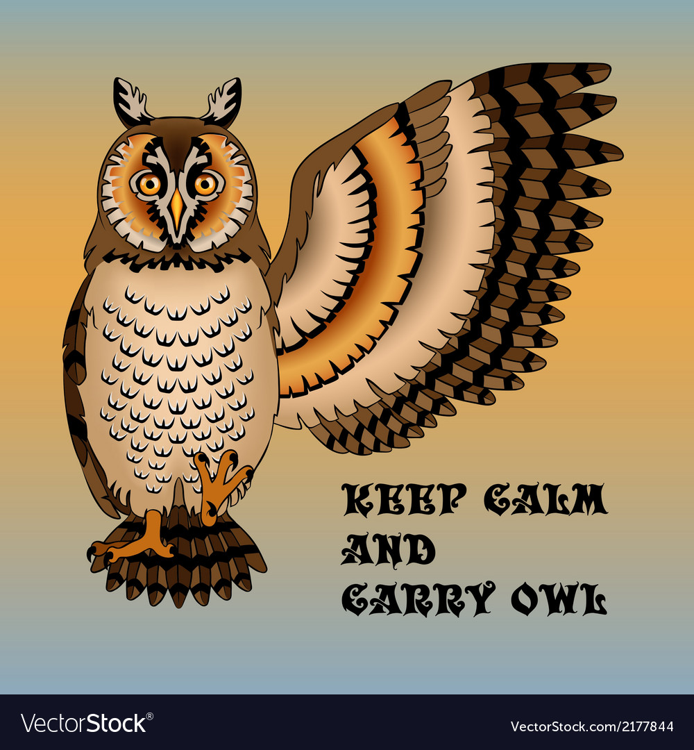 Wise owl lifted wing and paw vector | Price: 1 Credit (USD $1)