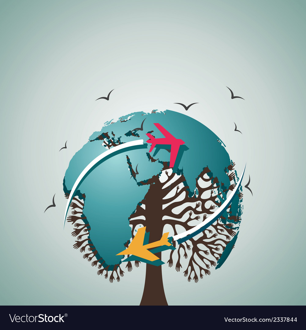 World map tree vector | Price: 1 Credit (USD $1)