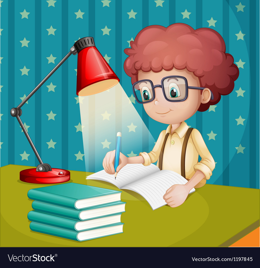 A boy studying vector | Price: 1 Credit (USD $1)