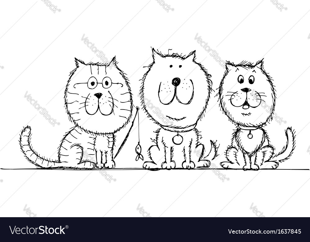Cat and dogs sketch for your design vector | Price: 1 Credit (USD $1)