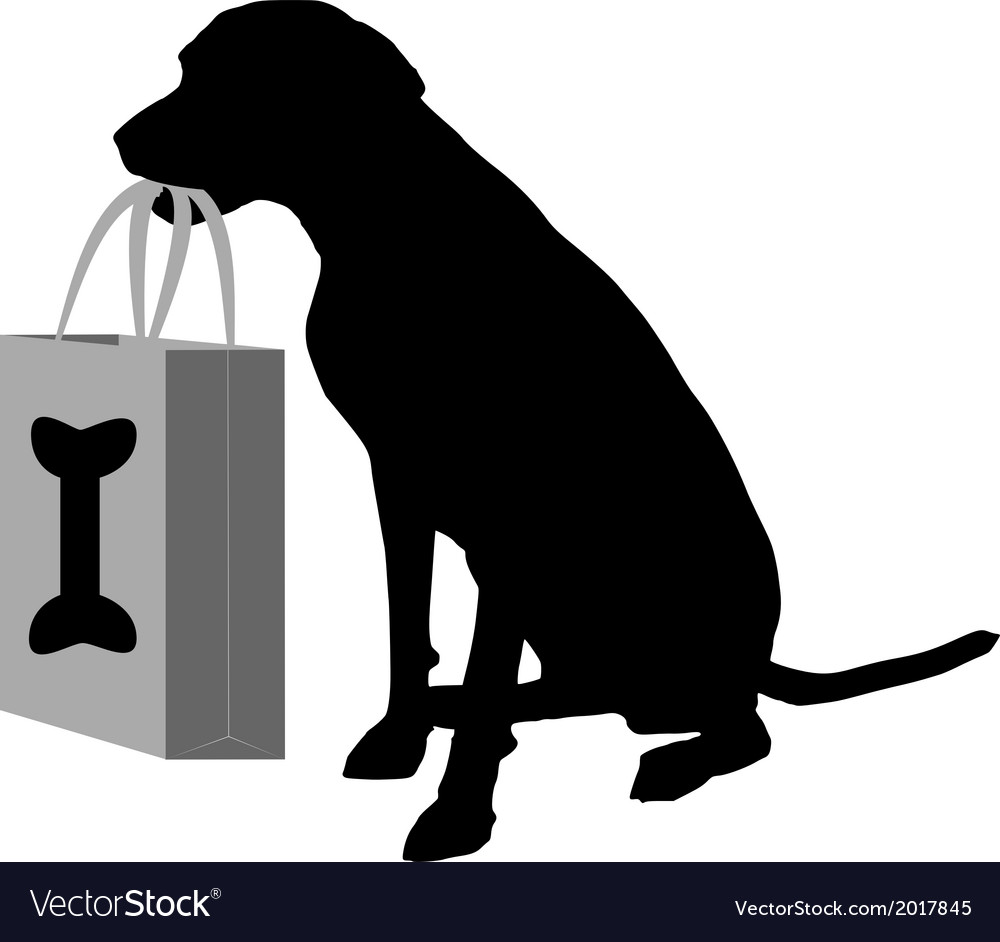 Dog shopping bones vector | Price: 1 Credit (USD $1)