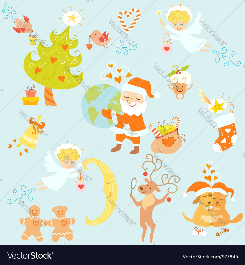 Love christmas set vector | Price: 1 Credit (USD $1)