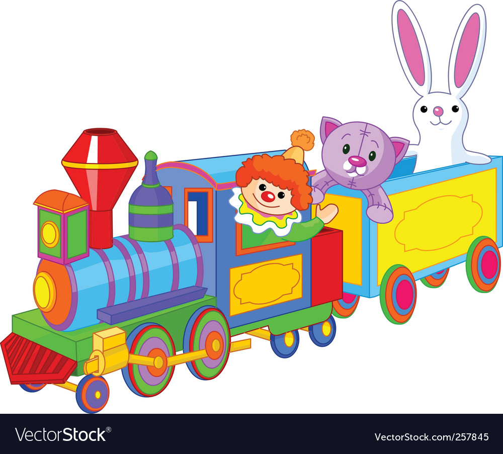 Toy train and toys vector | Price: 1 Credit (USD $1)