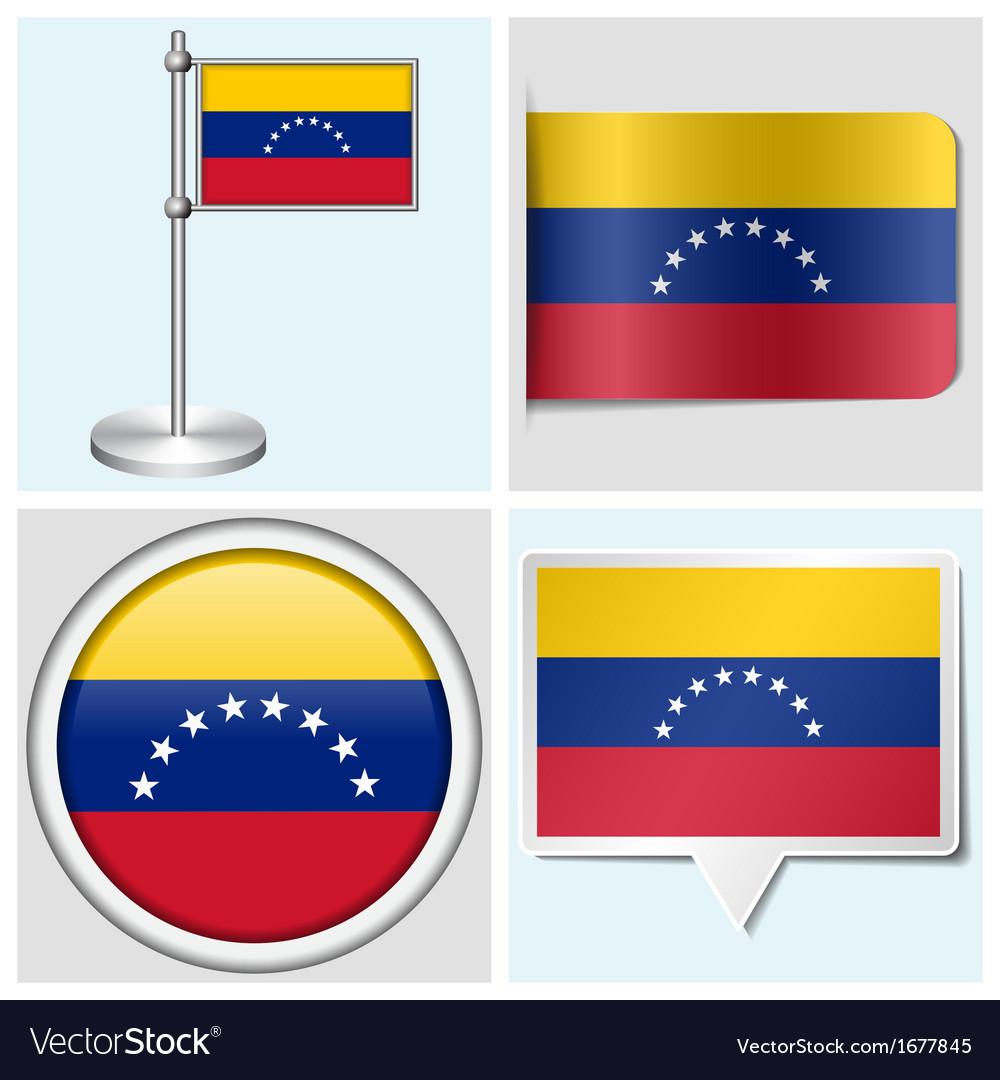 Venezuela flag - sticker button label flagstaff vector | Price: 1 Credit (USD $1)