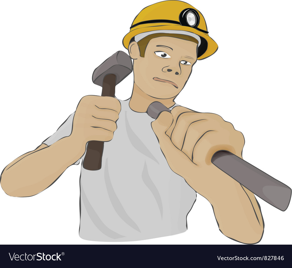 Builder or the miner works with a hammer and a vector   Price: 1 Credit (USD $1)