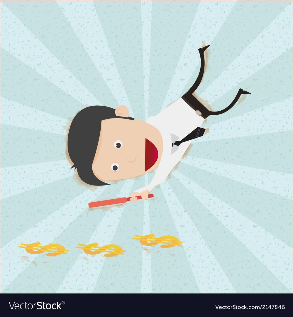 Businessman find money footprint vector | Price: 1 Credit (USD $1)