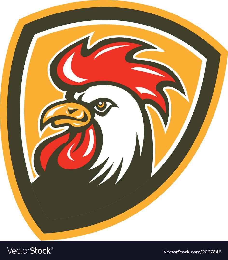 Chicken rooster head mascot shield retro vector   Price: 1 Credit (USD $1)