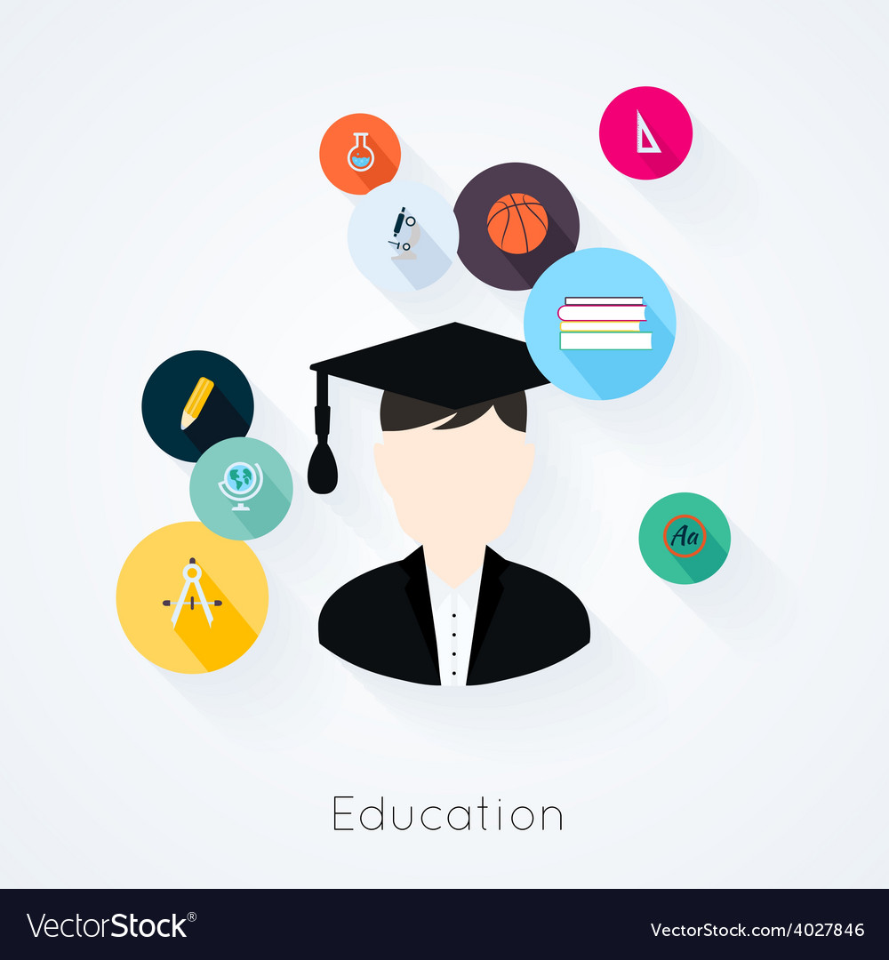 Education concept flat icons set vector | Price: 1 Credit (USD $1)