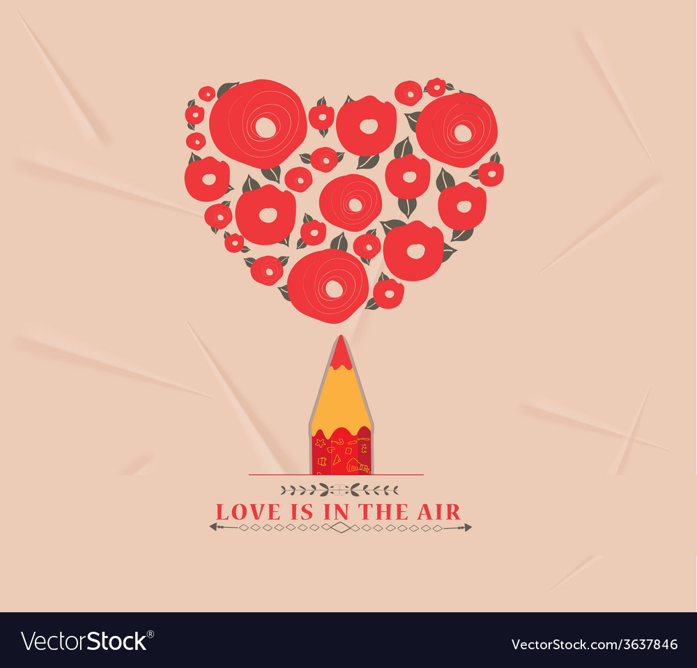 Flower heart with red pencil vector | Price: 1 Credit (USD $1)