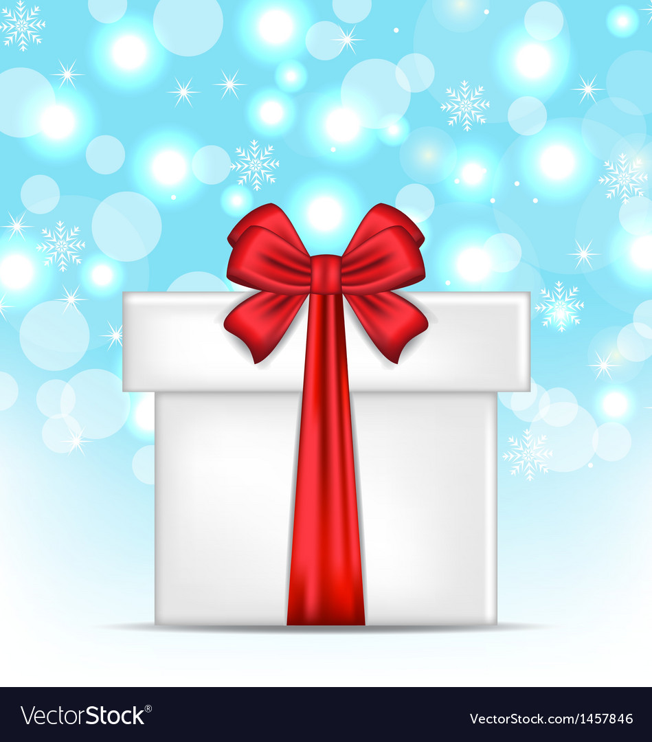 Gift box with red bows on glowing background vector | Price: 1 Credit (USD $1)