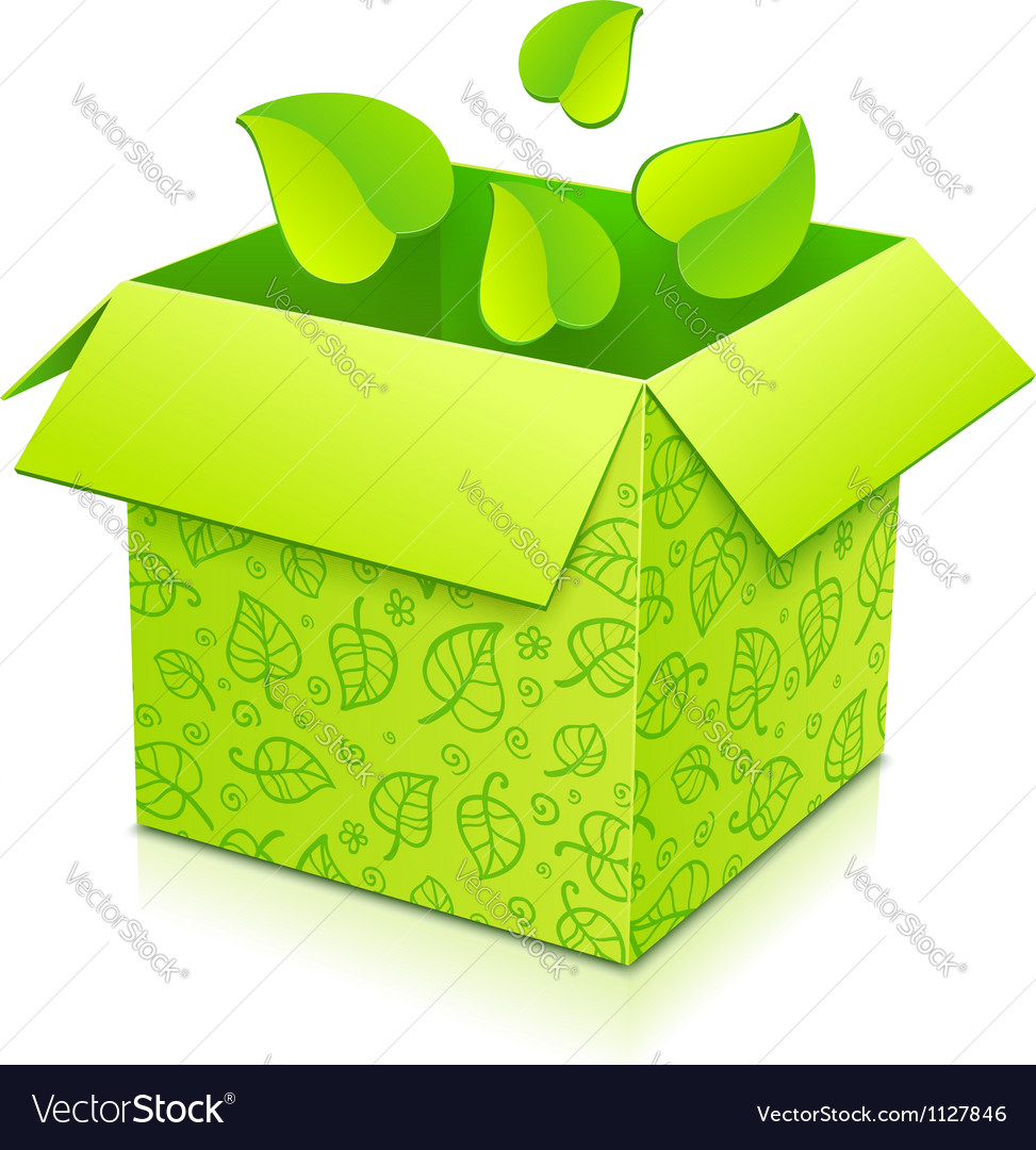 Green gift box with foliage inside vector | Price: 1 Credit (USD $1)