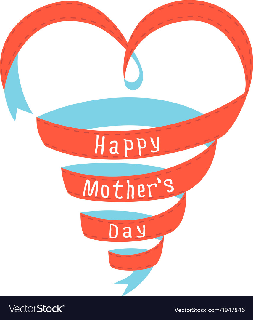 Happy mothers day heart ribbon vector | Price: 1 Credit (USD $1)