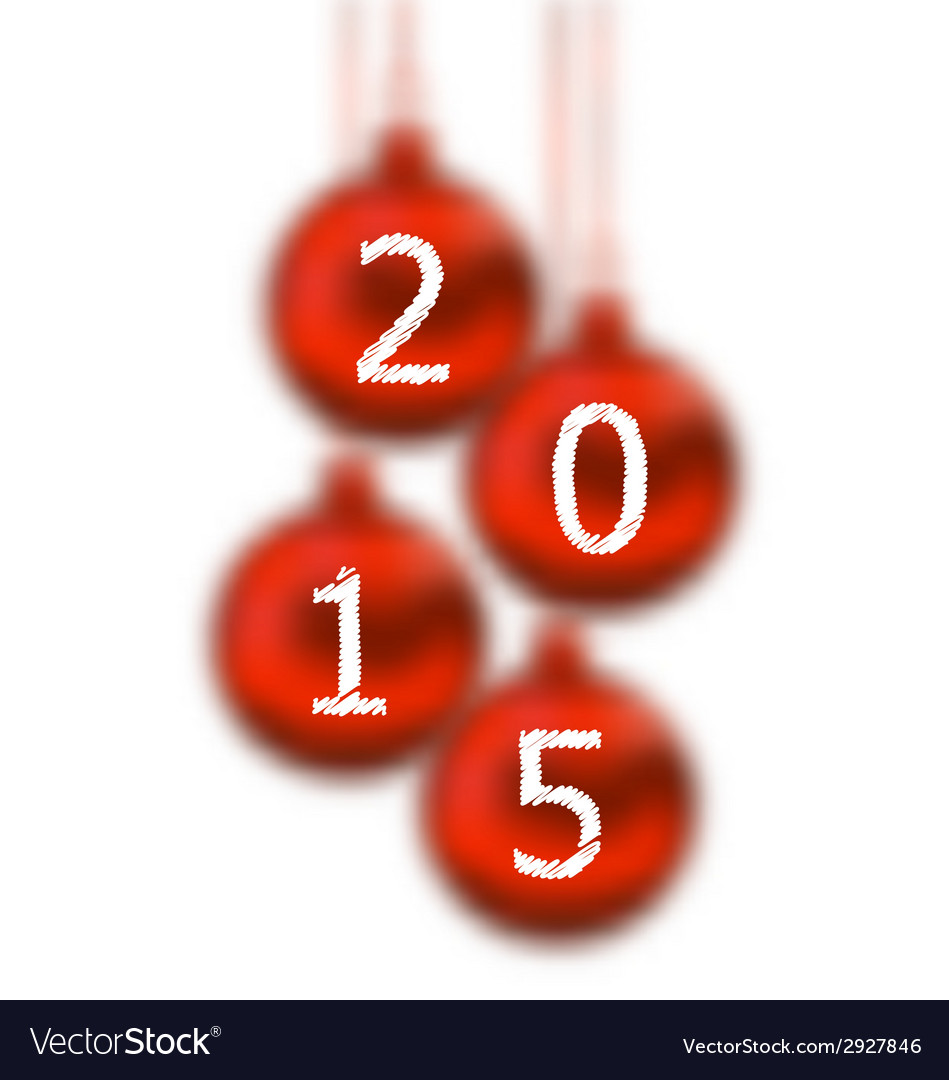 Happy new year 2015 in hanging glass ball on white vector | Price: 1 Credit (USD $1)