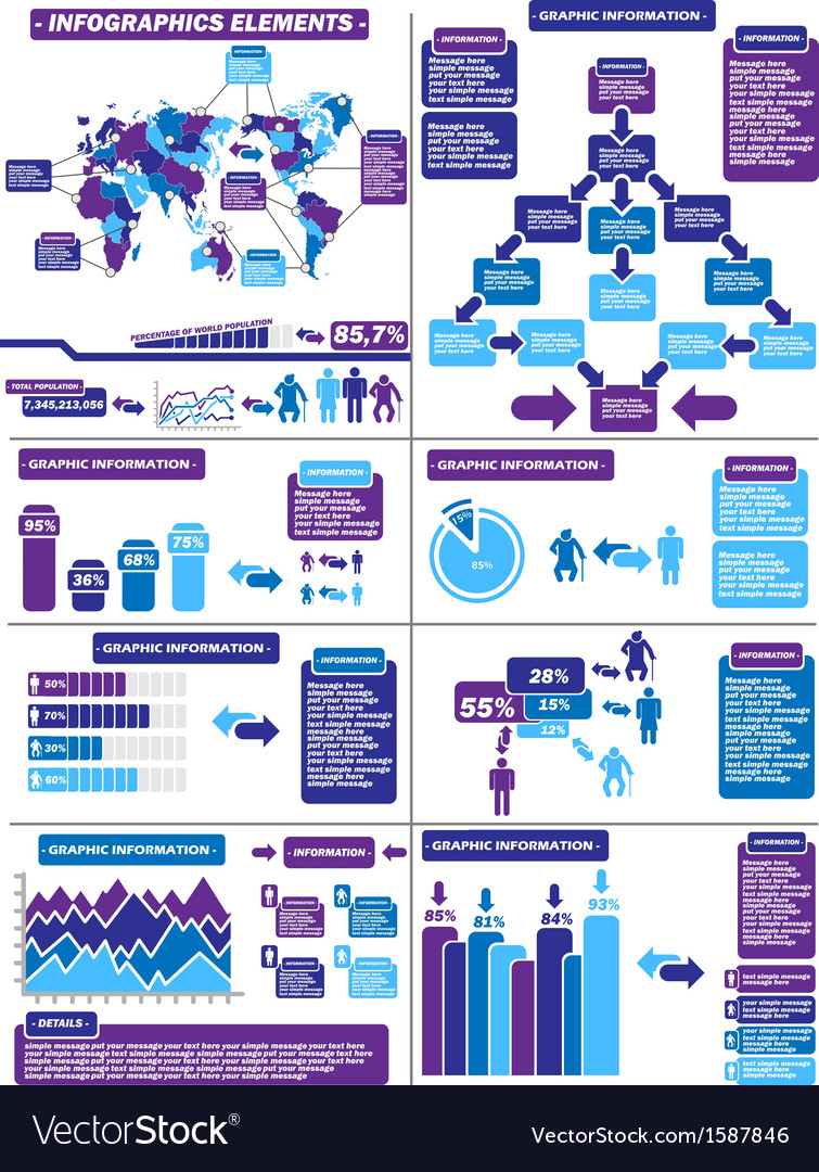 Infographic demographics purple 11 vector | Price: 1 Credit (USD $1)