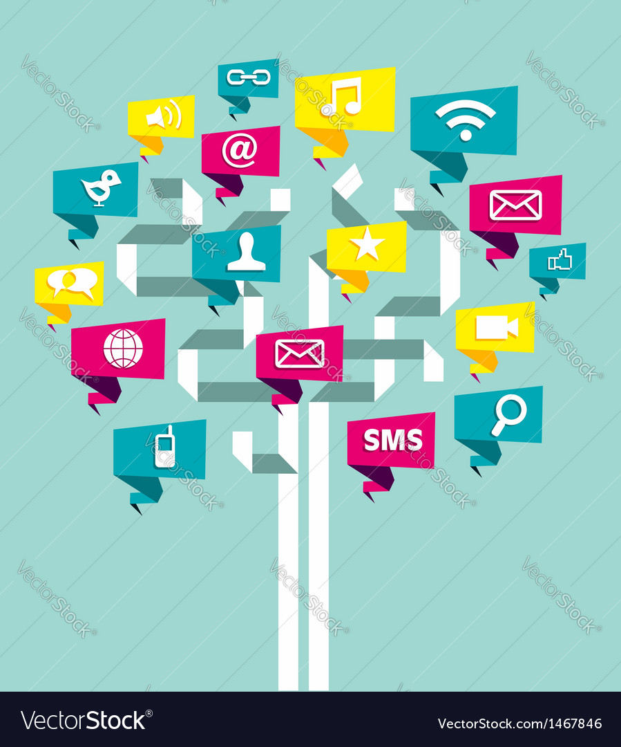 Social media network business tree vector | Price: 1 Credit (USD $1)