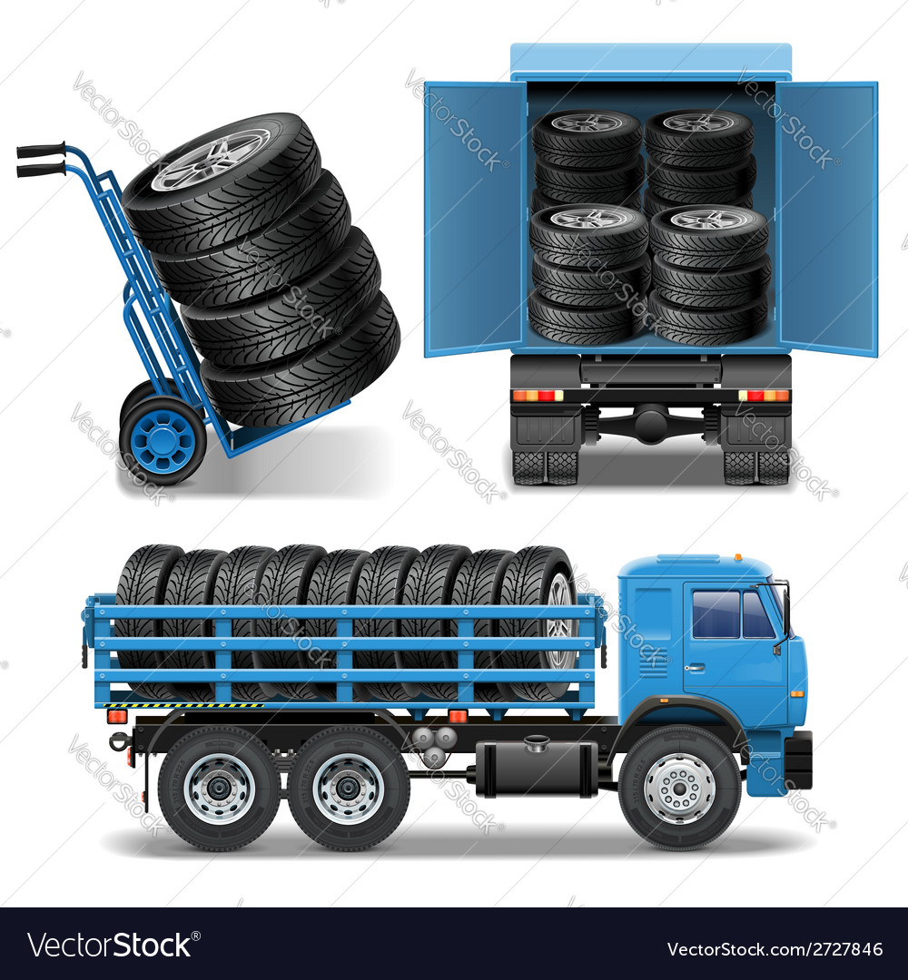 Tire delivery icons vector | Price: 3 Credit (USD $3)