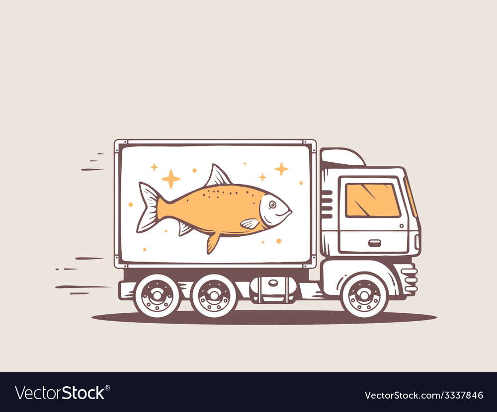 Truck free and fast delivering fish to cu vector | Price: 3 Credit (USD $3)
