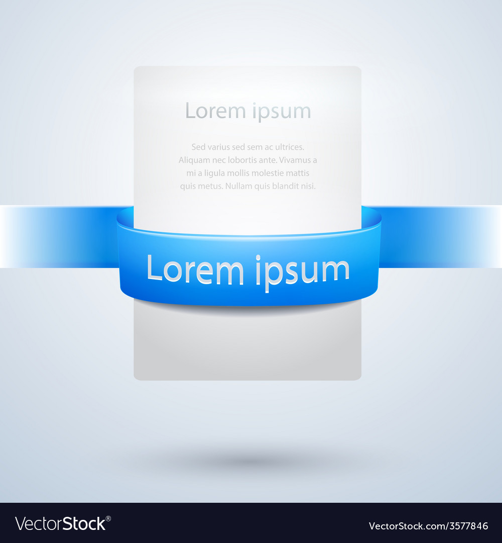 White paper banner with blue ribbon design vector | Price: 1 Credit (USD $1)