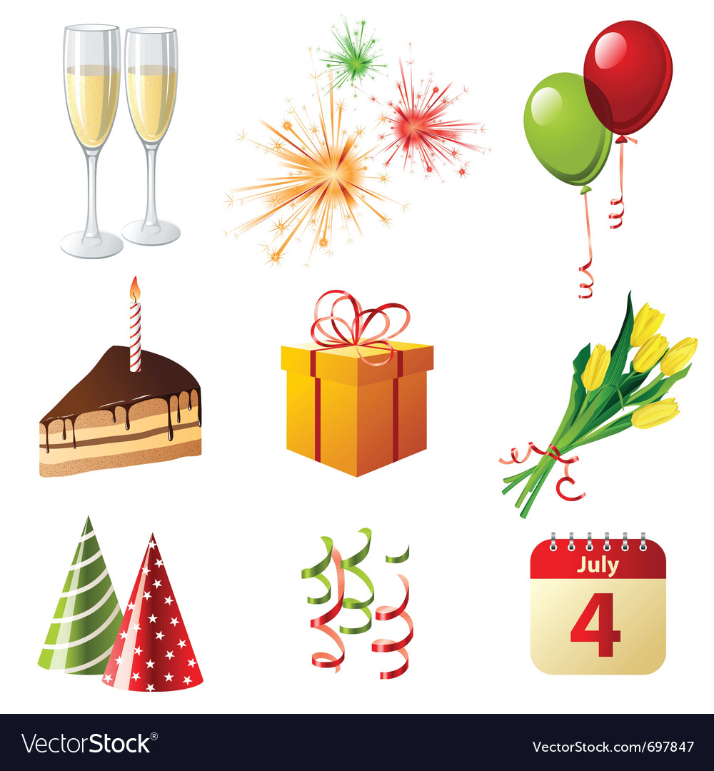9 highly detailed celebration icons vector | Price: 1 Credit (USD $1)