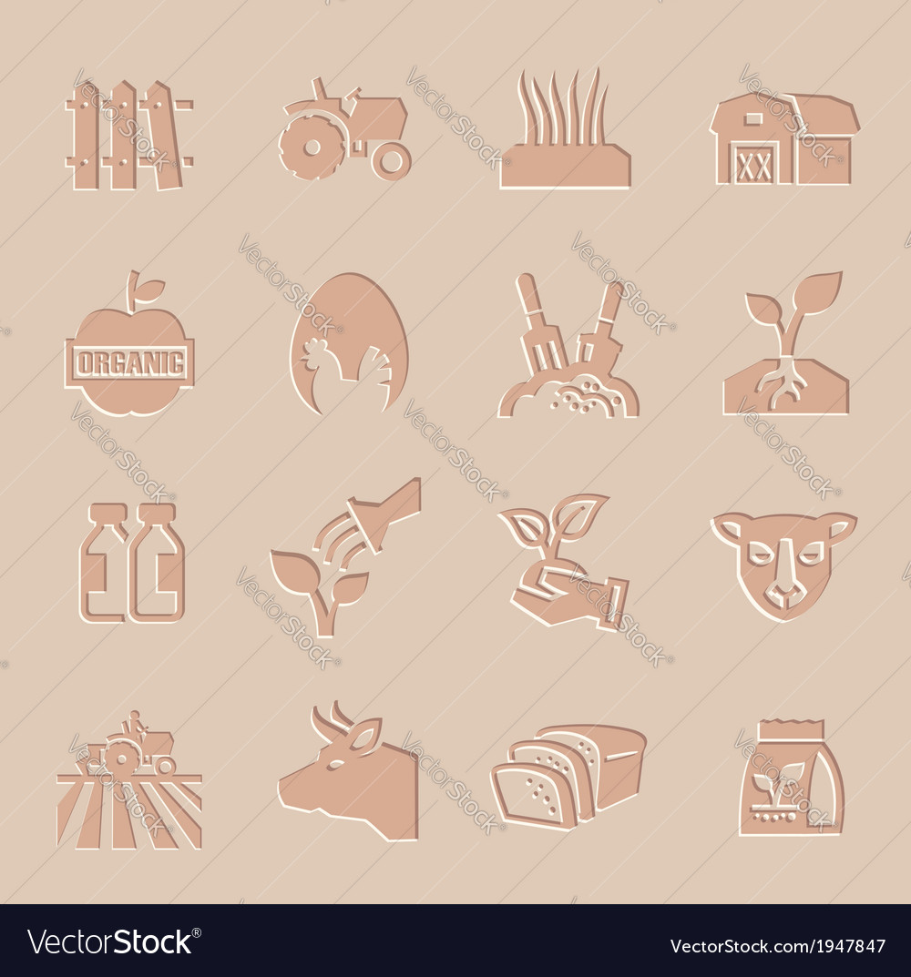 Agriculture and farming icons set vector | Price: 1 Credit (USD $1)