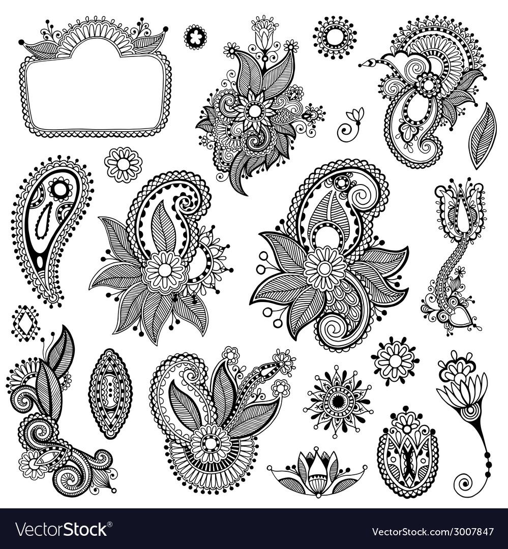 Black line art ornate flower design collection vector | Price: 1 Credit (USD $1)