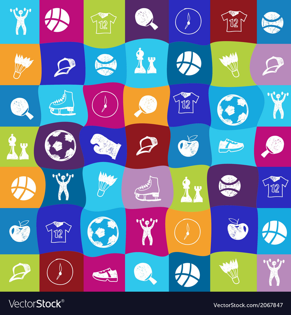 Bright sports icons set vector | Price: 1 Credit (USD $1)