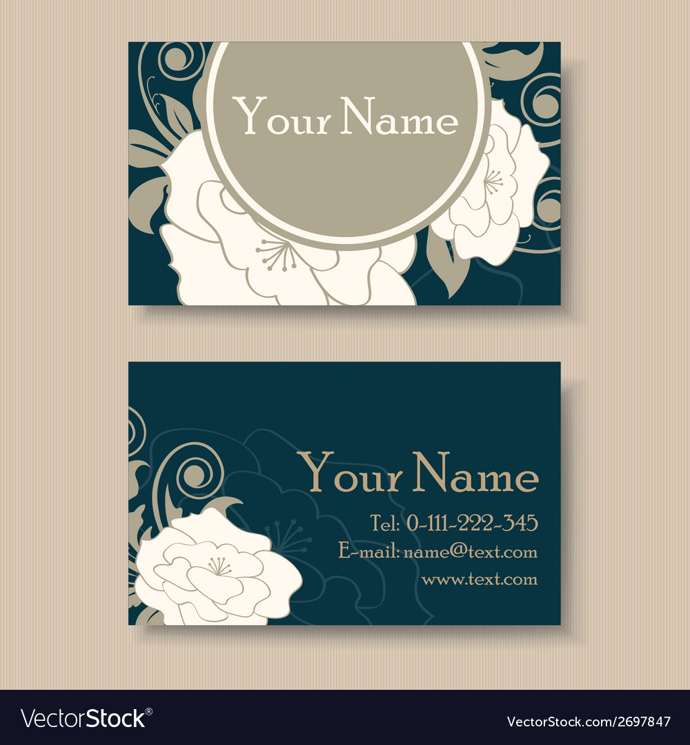 Dark floral visit card vector | Price: 1 Credit (USD $1)