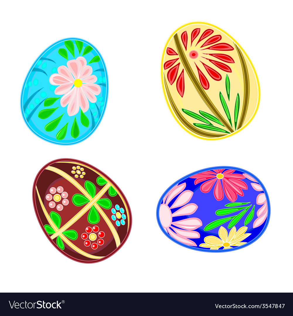 Easter eggs set floral pattern vector | Price: 1 Credit (USD $1)