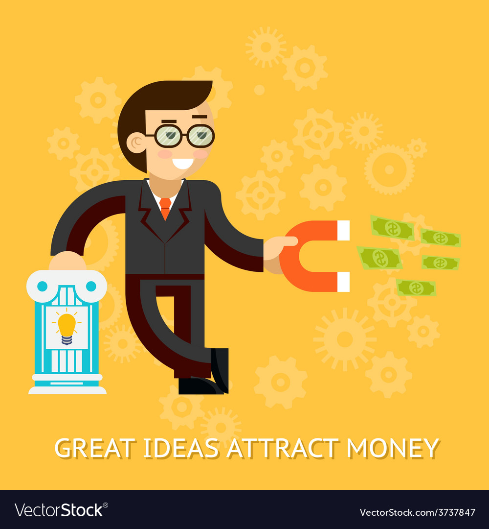 Great ideas attract money businessman holding vector | Price: 1 Credit (USD $1)
