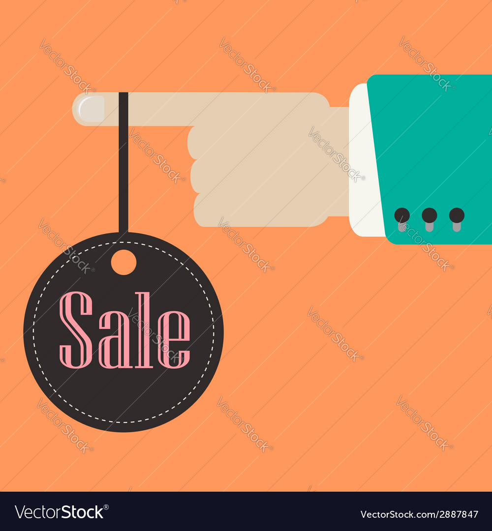 Hand holding sale label vector | Price: 1 Credit (USD $1)