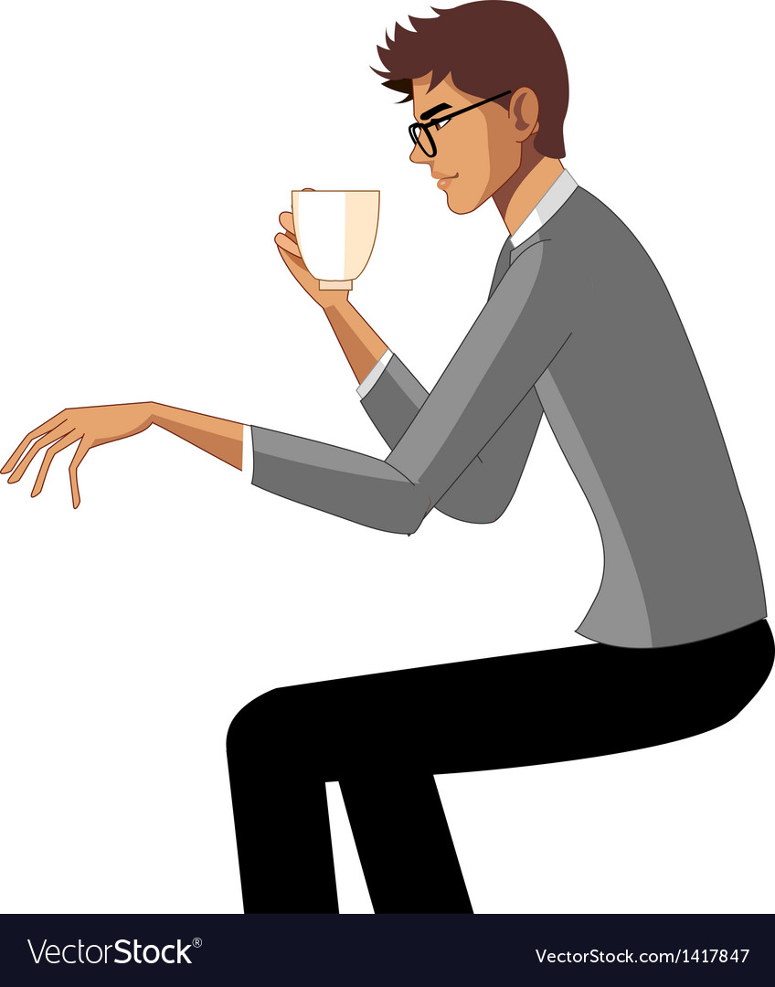Man holding cup vector | Price: 1 Credit (USD $1)