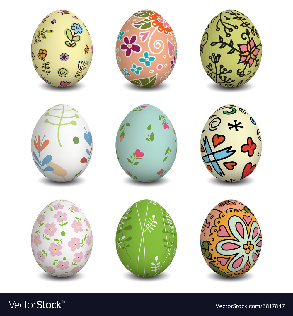 Set of isolated easter eggs vector | Price: 3 Credit (USD $3)