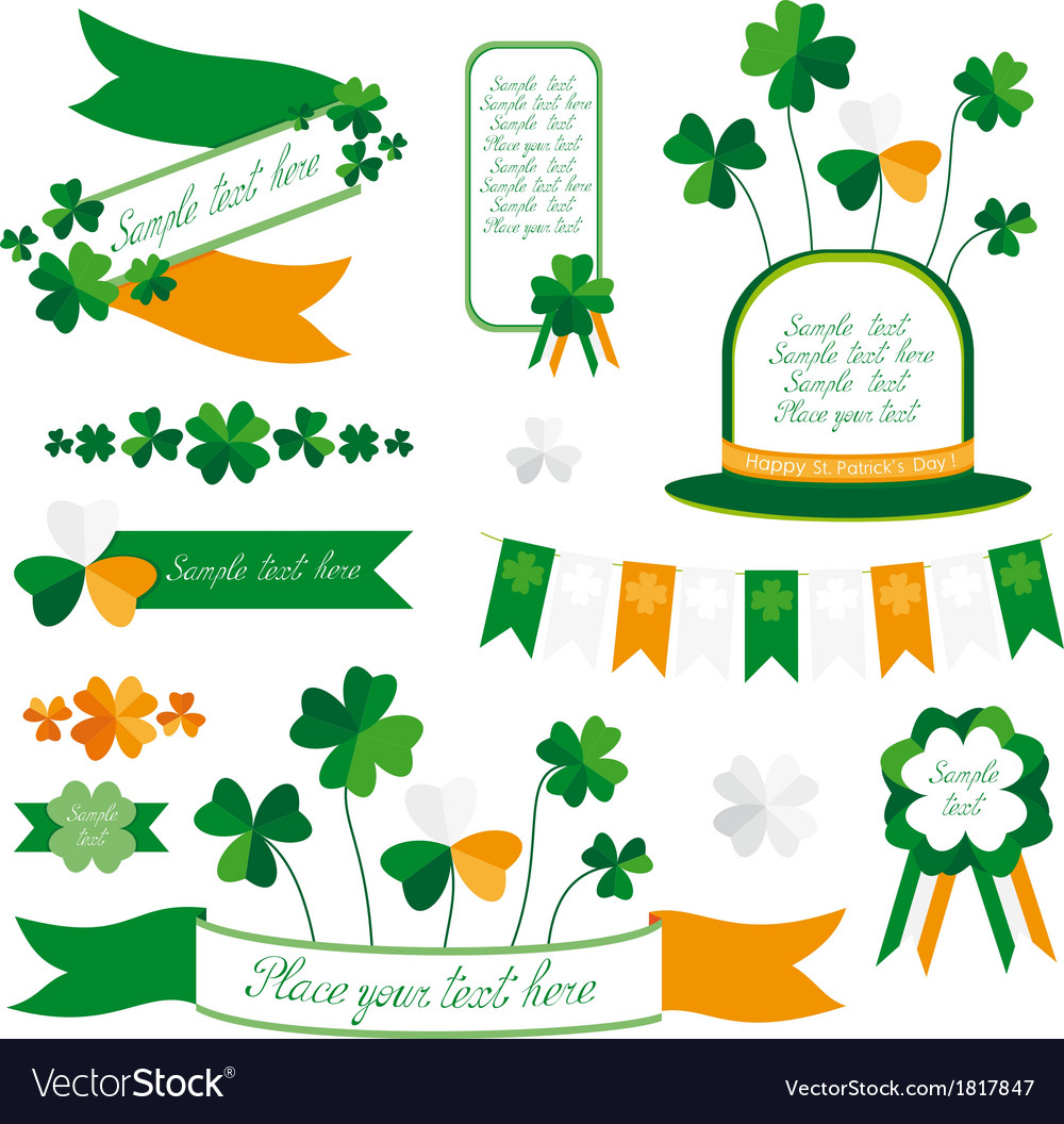 Set of st patricks day decorative elements vector | Price: 1 Credit (USD $1)