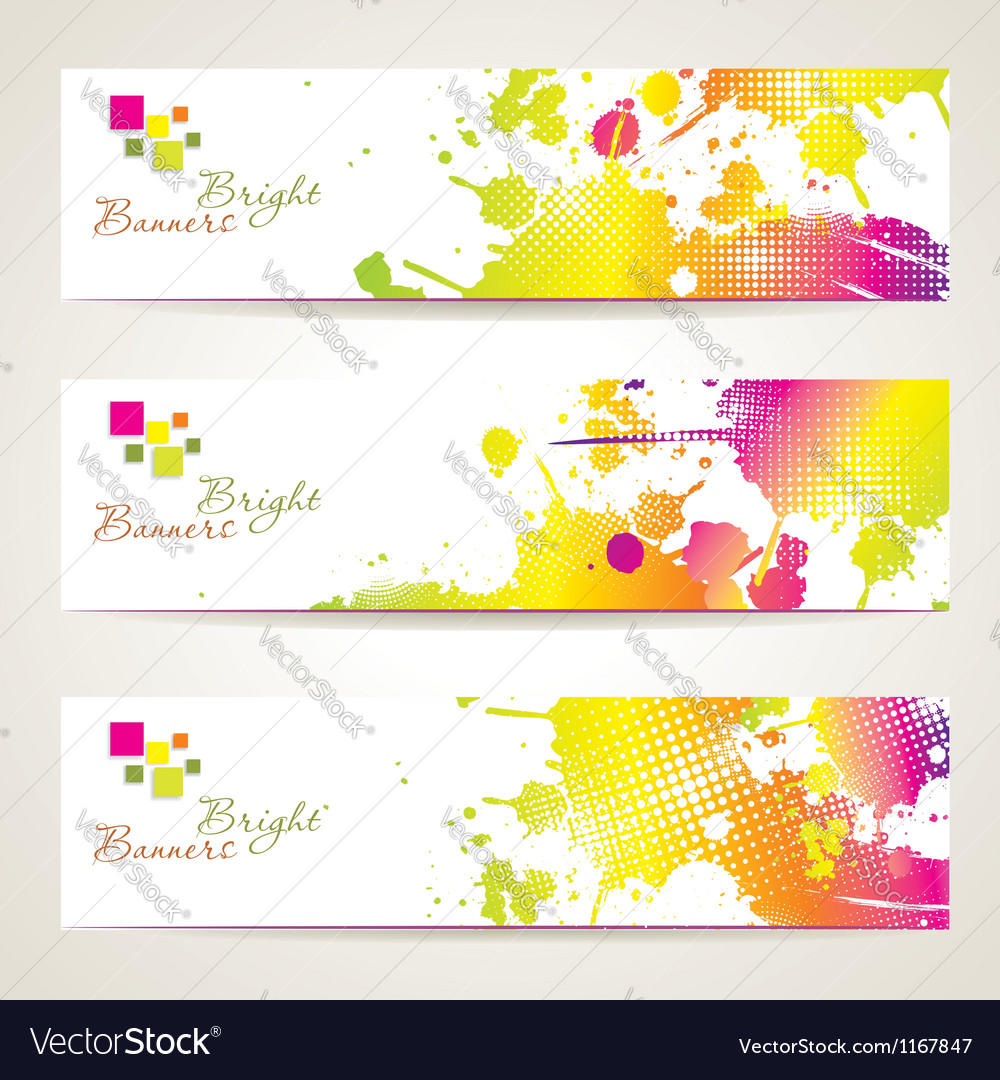 Set of three banners abstract headers with bright vector | Price: 1 Credit (USD $1)