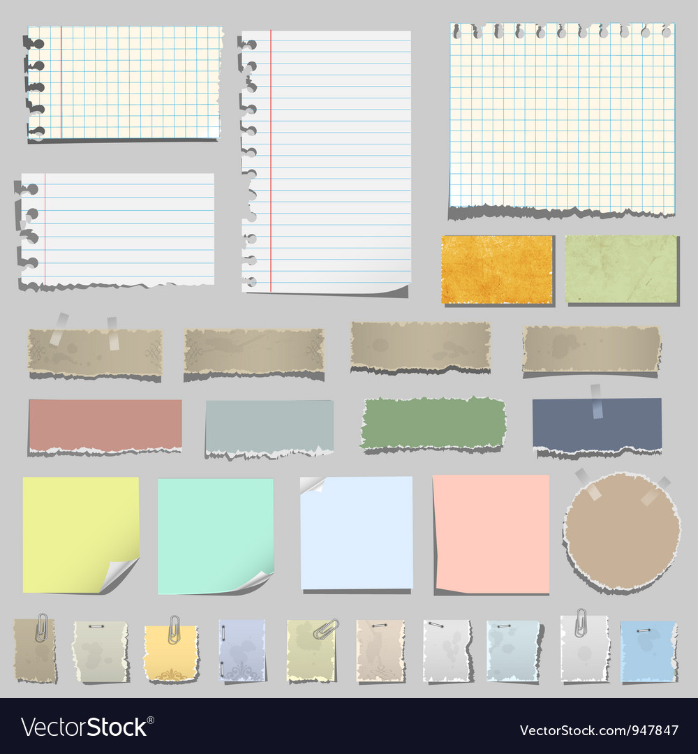 Set of various notes paper vector | Price: 1 Credit (USD $1)