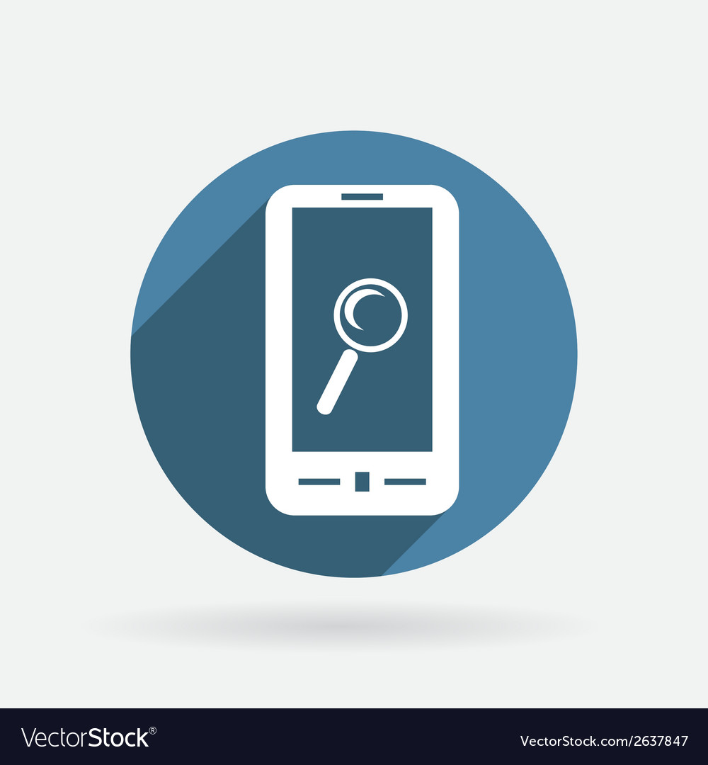 Smartphone magnifying glass circle blue icon vector | Price: 1 Credit (USD $1)