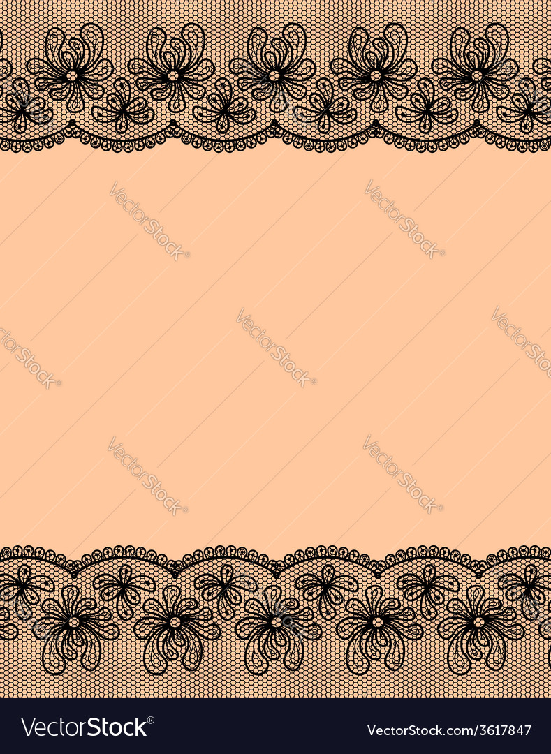 Two black lacy flower borders vector | Price: 1 Credit (USD $1)