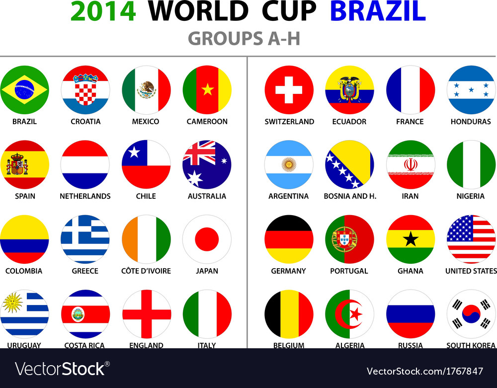 World cup brazil 2014 all nations flags vector | Price: 1 Credit (USD $1)