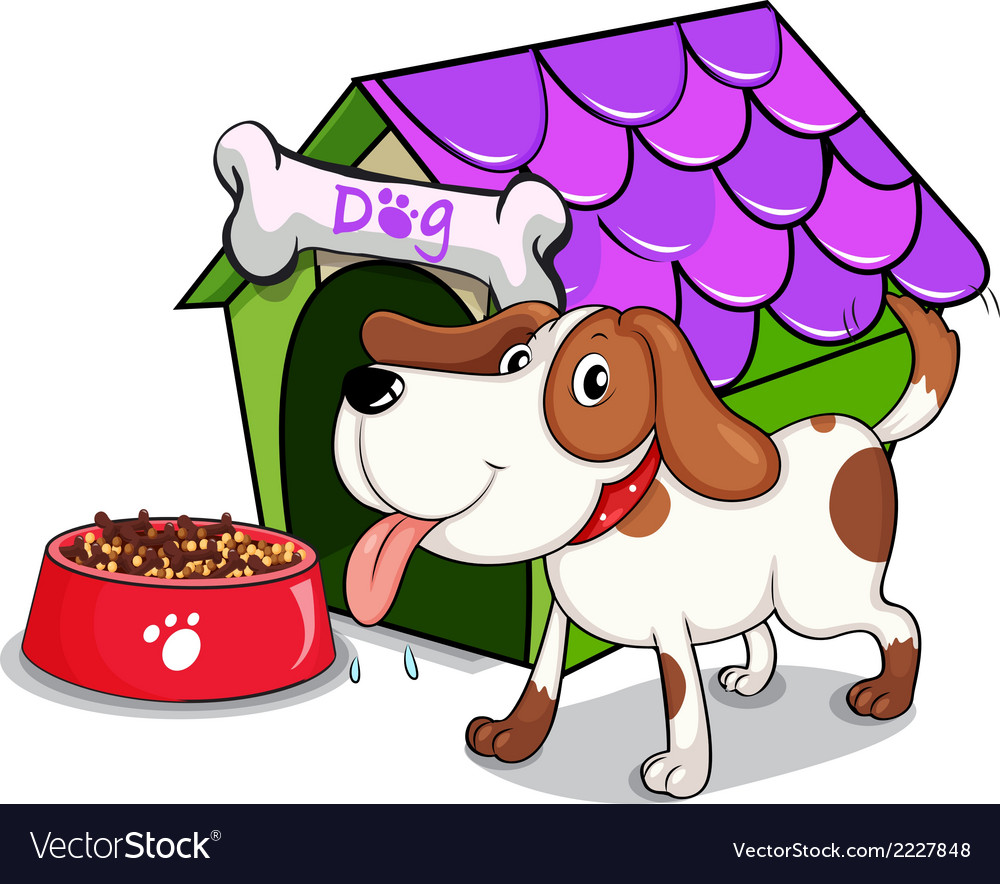 A dog beside the bowl with foods vector | Price: 1 Credit (USD $1)