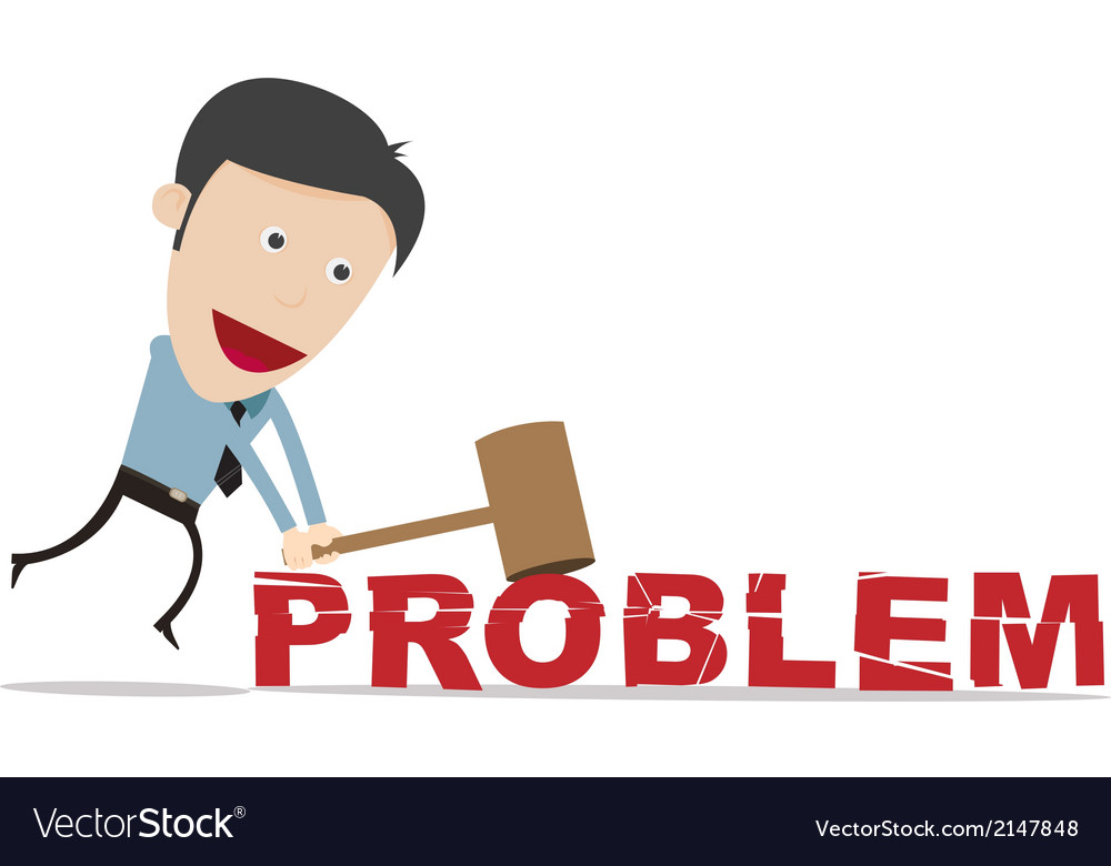 Cartoon businessman use hammer smash prob vector | Price: 1 Credit (USD $1)