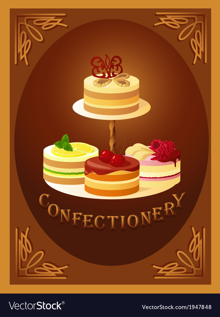 Confectionery sign with four kinds of cakes vector | Price: 1 Credit (USD $1)