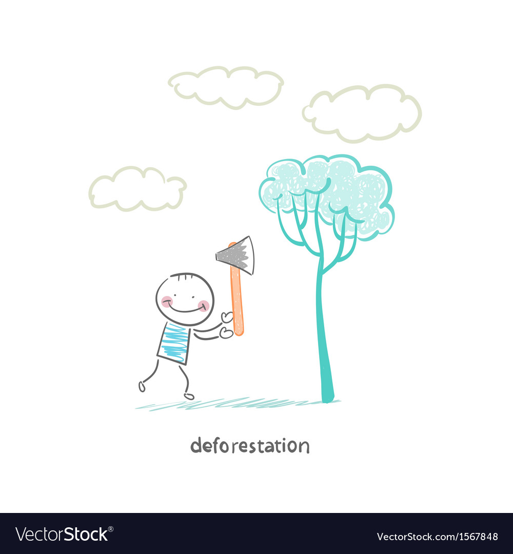 Felling trees vector | Price: 1 Credit (USD $1)