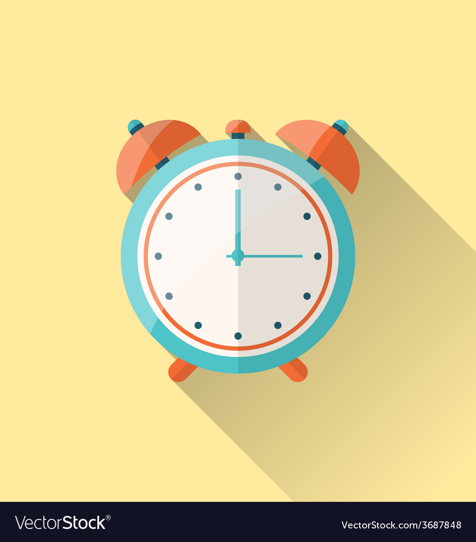 Flat icon of retro alarm-clock with long shadow - vector | Price: 1 Credit (USD $1)